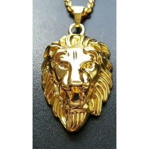 "Other - 18k Gold Lion Head Pendant Necklace 30"" Link Chain"
